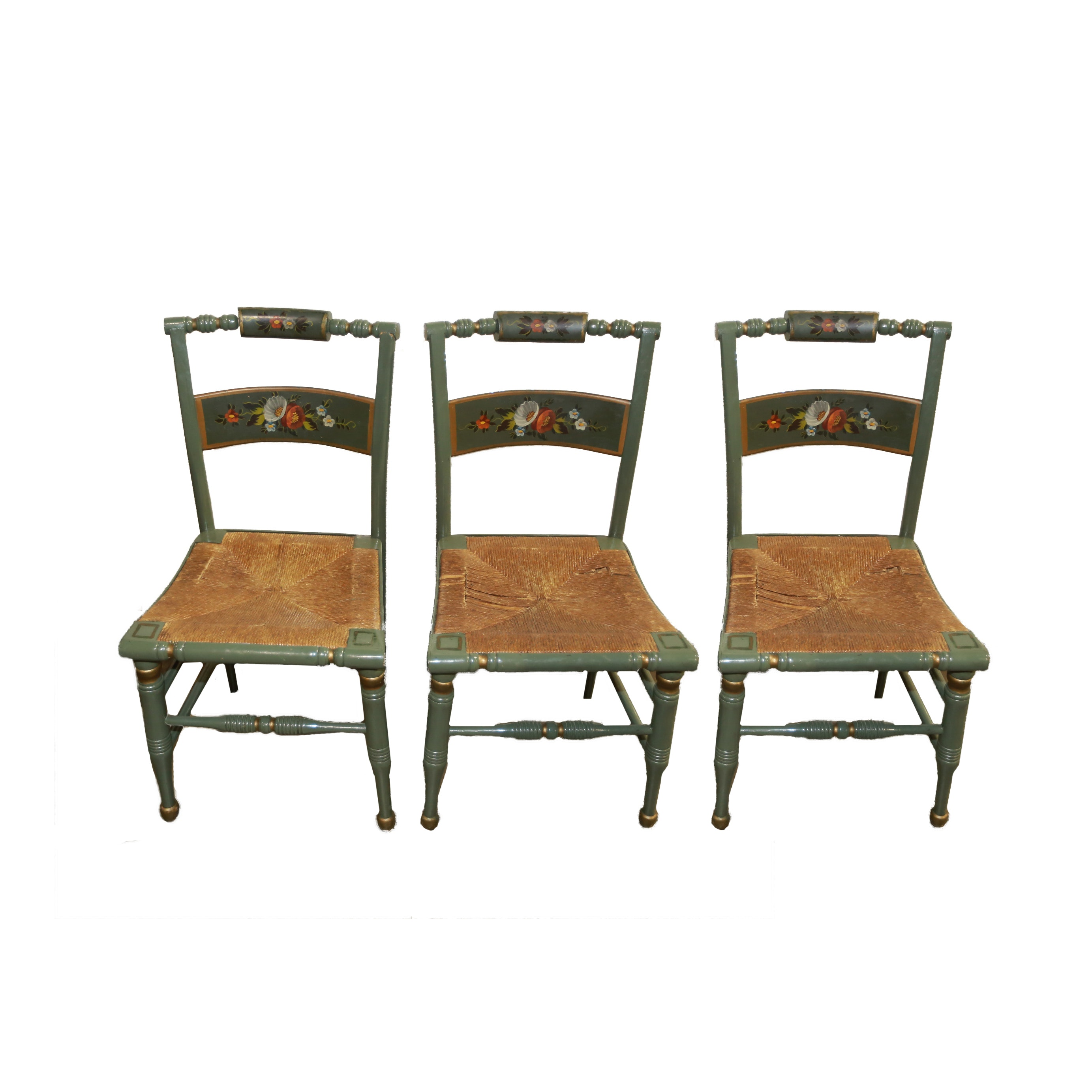 Three Hand-Painted  Hitchcock Style Chairs