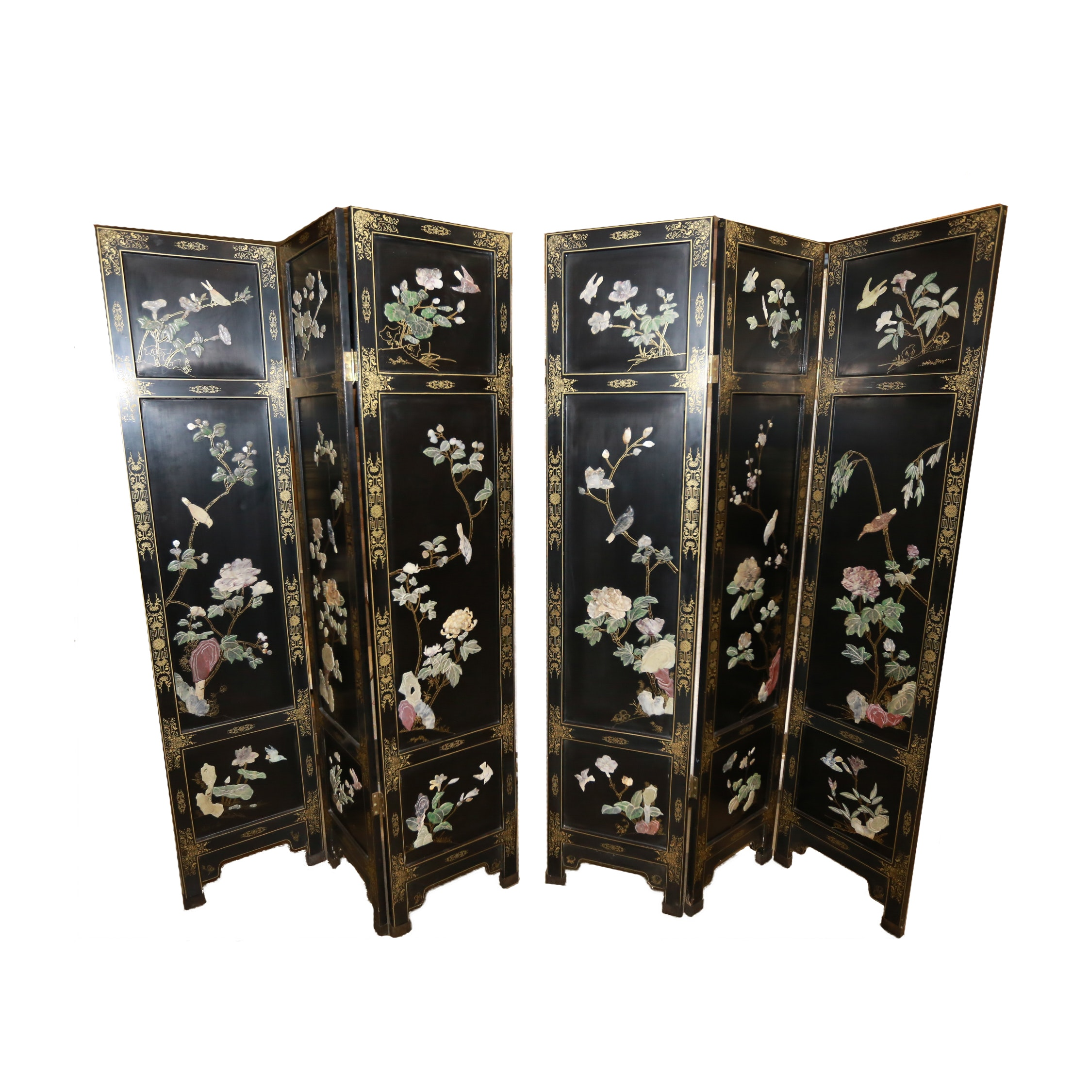 Pair of Painted Wooden Chinese Folding Screens