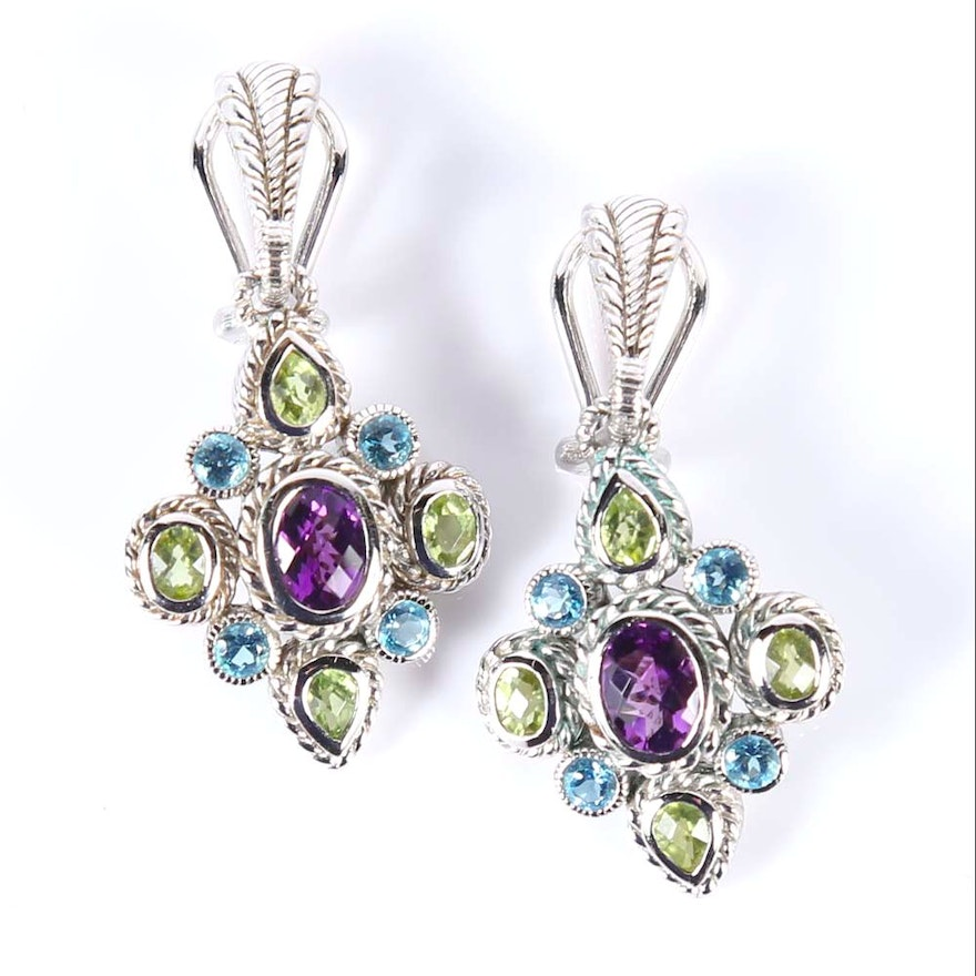 dangle handcrafted gems stone earrings sterling gemstones in gemstone multi beautiful silver gem