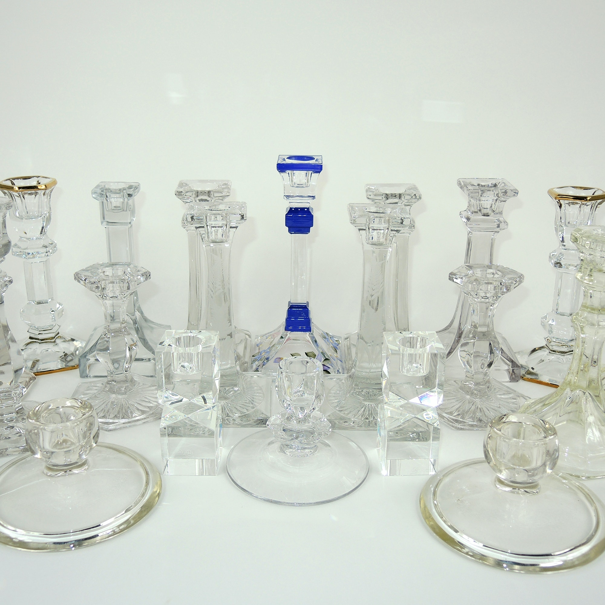 Large 20 Piece Crystal Candlestick Collection