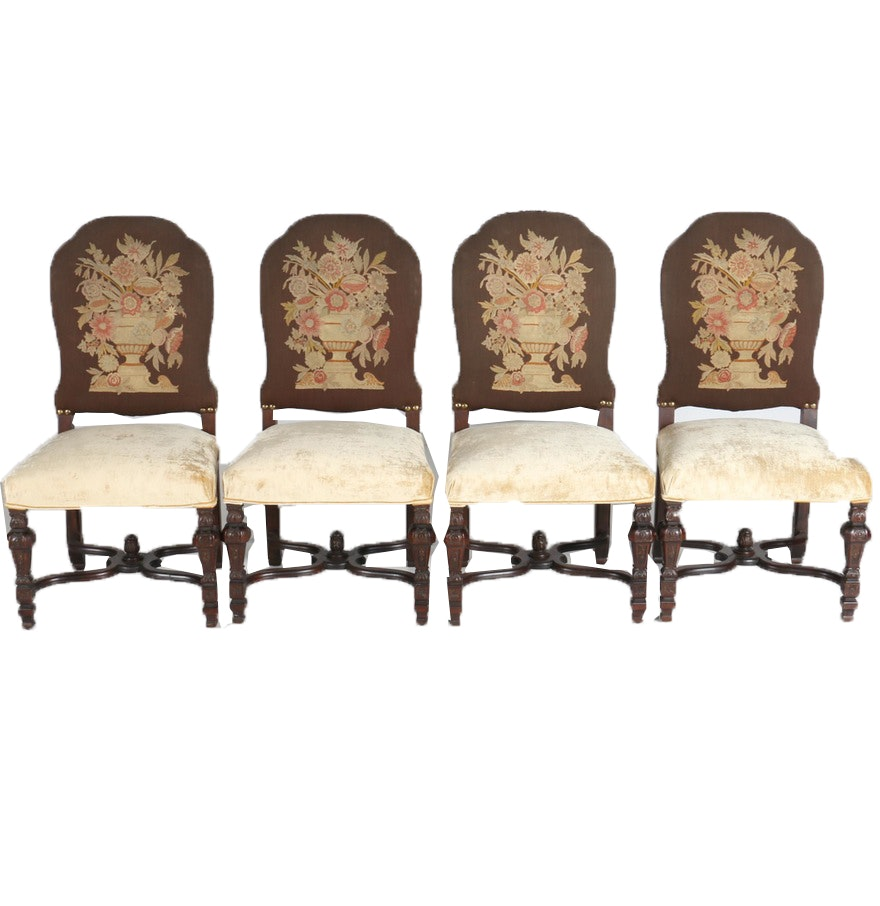 Set Of Four Early 20th Century Louis XIV Style Upholstered Chairs ...