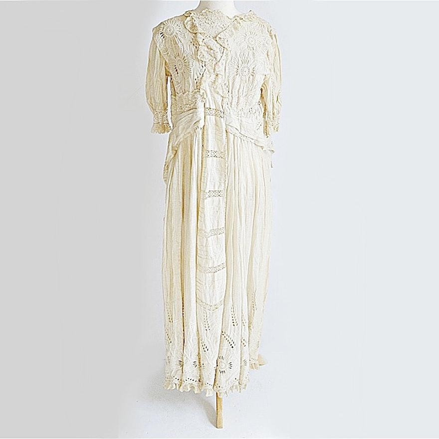 d17cf25deaef8 Victorian Era Cotton Tea Dress with Slip : EBTH