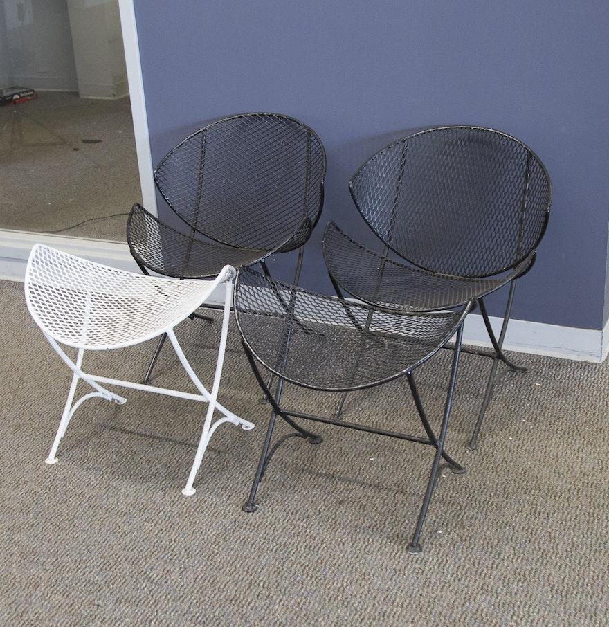 Mid Century Modern Salterini Orange Slice Patio Chairs And