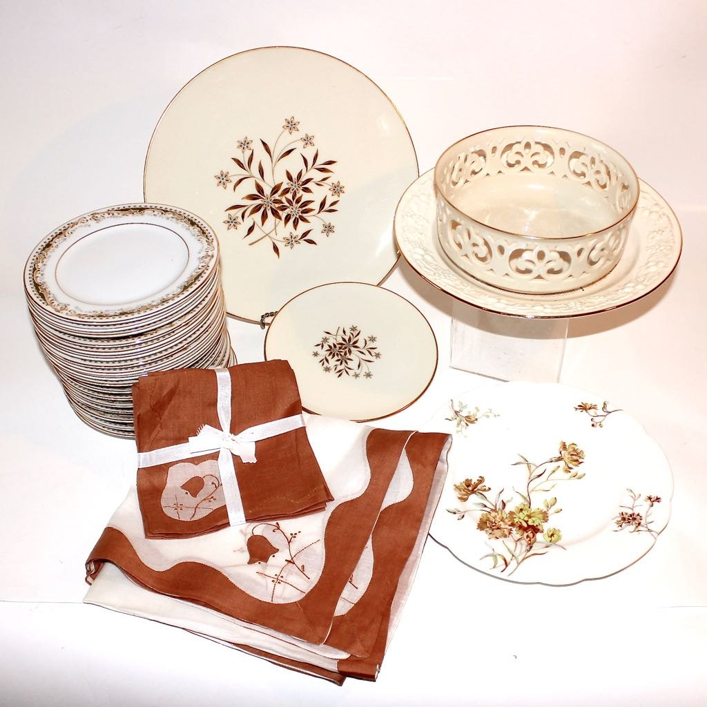 Fine China Plates, Limoges, and Coordinating Vintage Linens