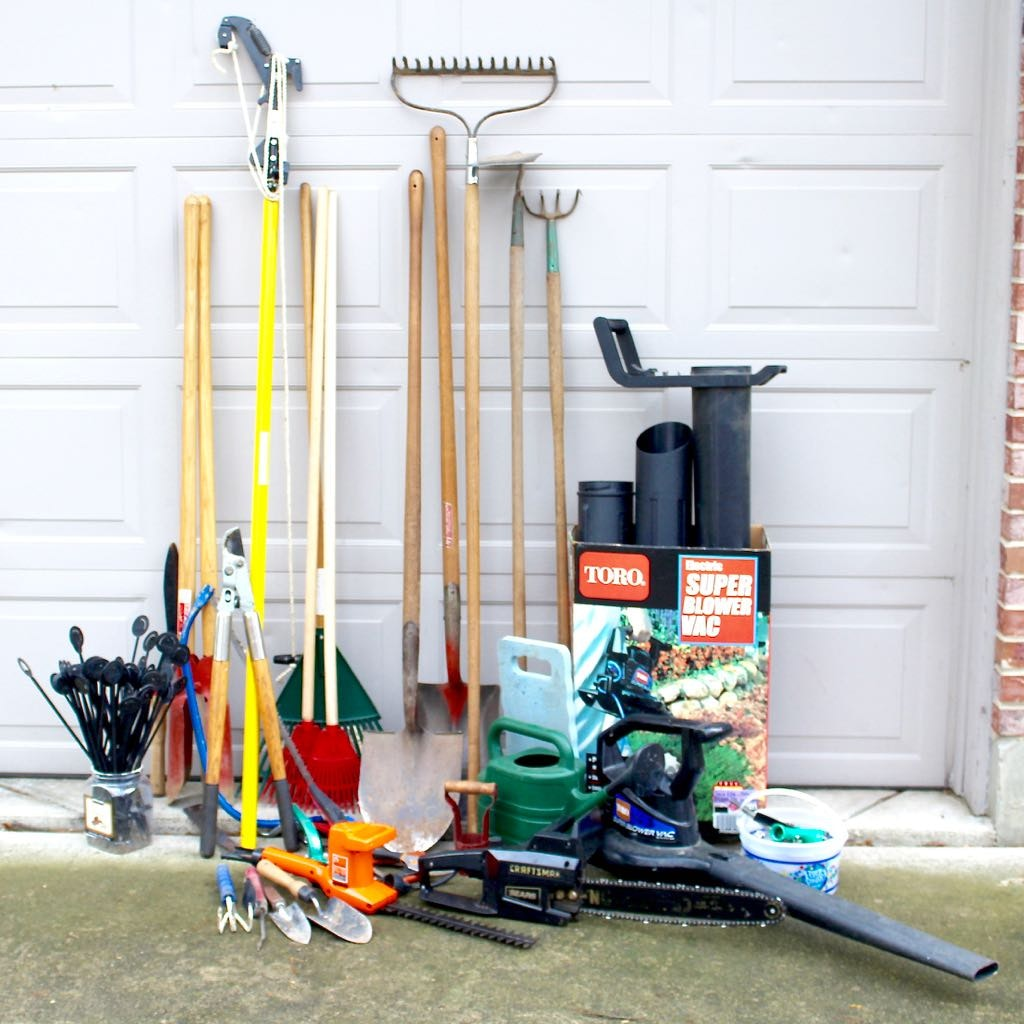 "Gardening Tools Including Toro ""Blower Vac,"" Shovels, Rakes, and More"