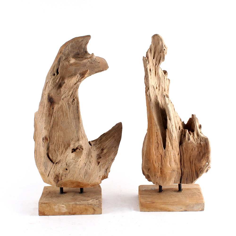 Pair of Driftwood Sculptural Decor on Stands
