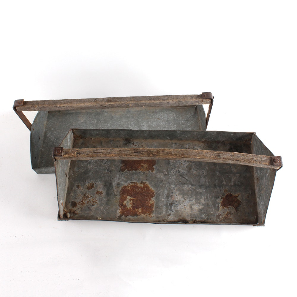 Vintage Galvanized Metal Berry Picking Trays