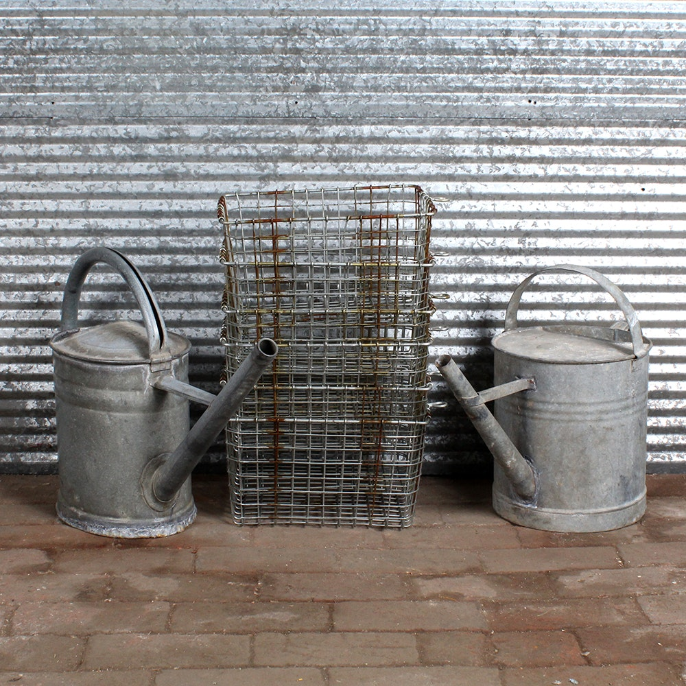 Six Vintage Metal Fruit Baskets and Two Watering Cans