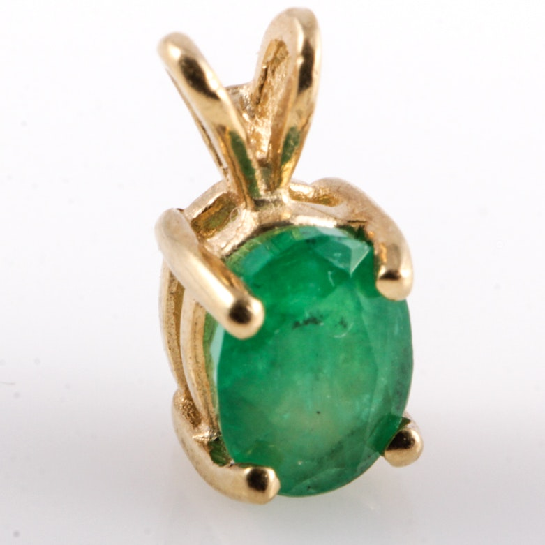 14K Yellow Gold and Emerald Solitaire Pendant