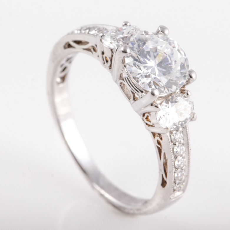 18K White Gold, Cubic Zirconia, and Diamond Engagement Ring