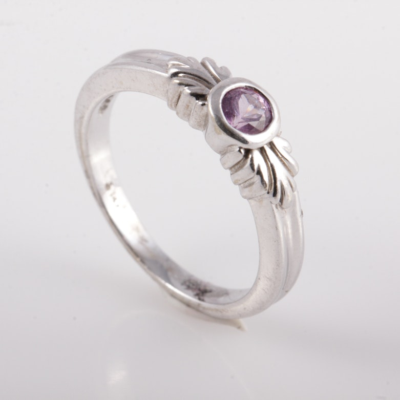 14K White Gold and Pink Sapphire Solitaire Ring