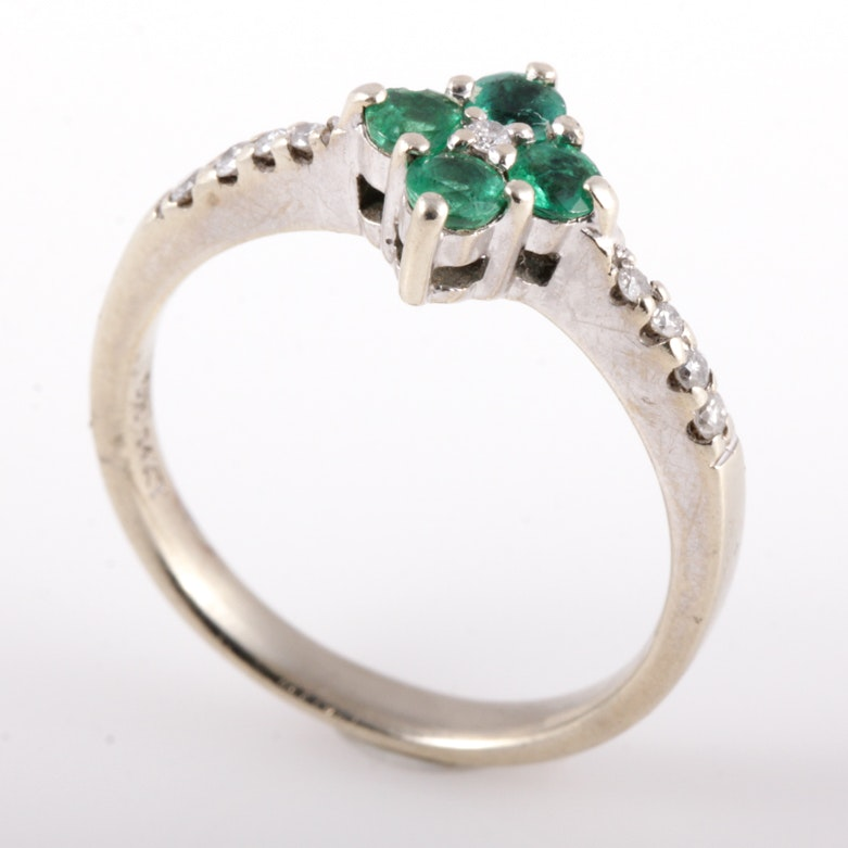 14K Yellow Gold, Emerald, and Diamond Ring
