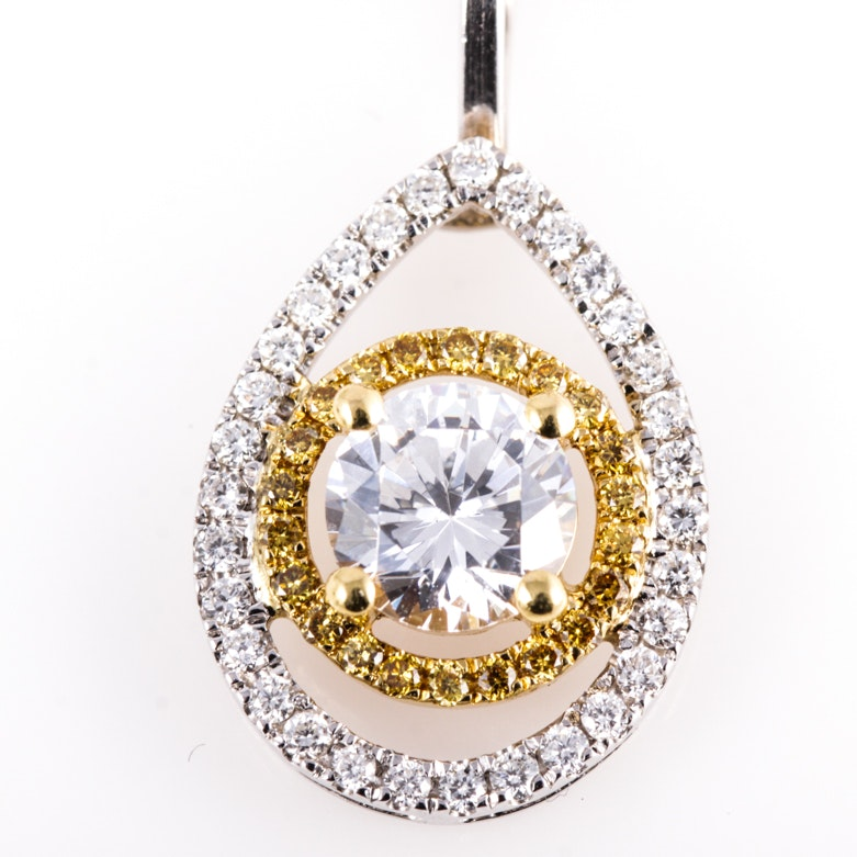 18K White Gold, Cubic Zirconia, and Diamond Teardrop Pendant with 14K Chain