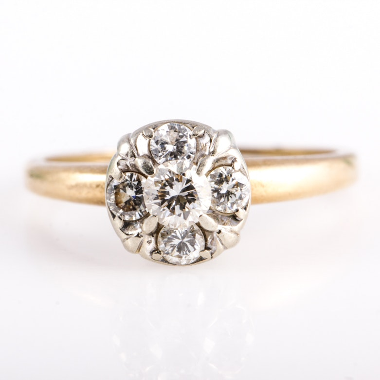 Vintage 14K Gold and Diamond Engagement Ring