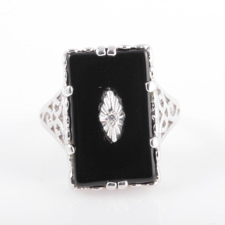 Sterling Silver and Onyx Statement Ring