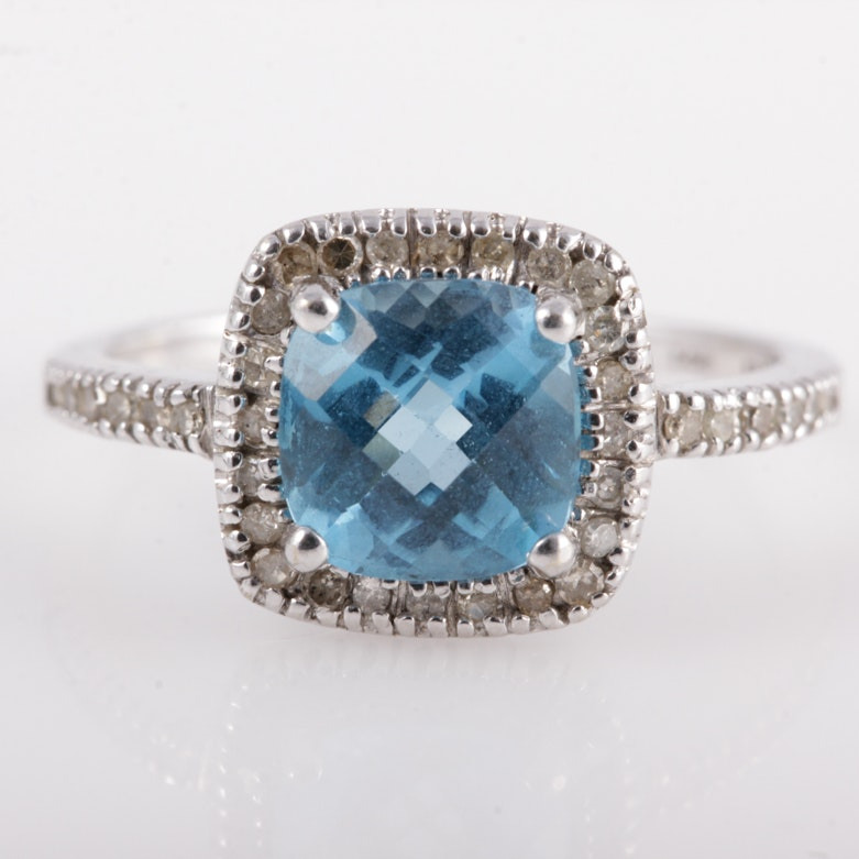 14K White Gold, Blue Topaz, and Diamond Halo Ring