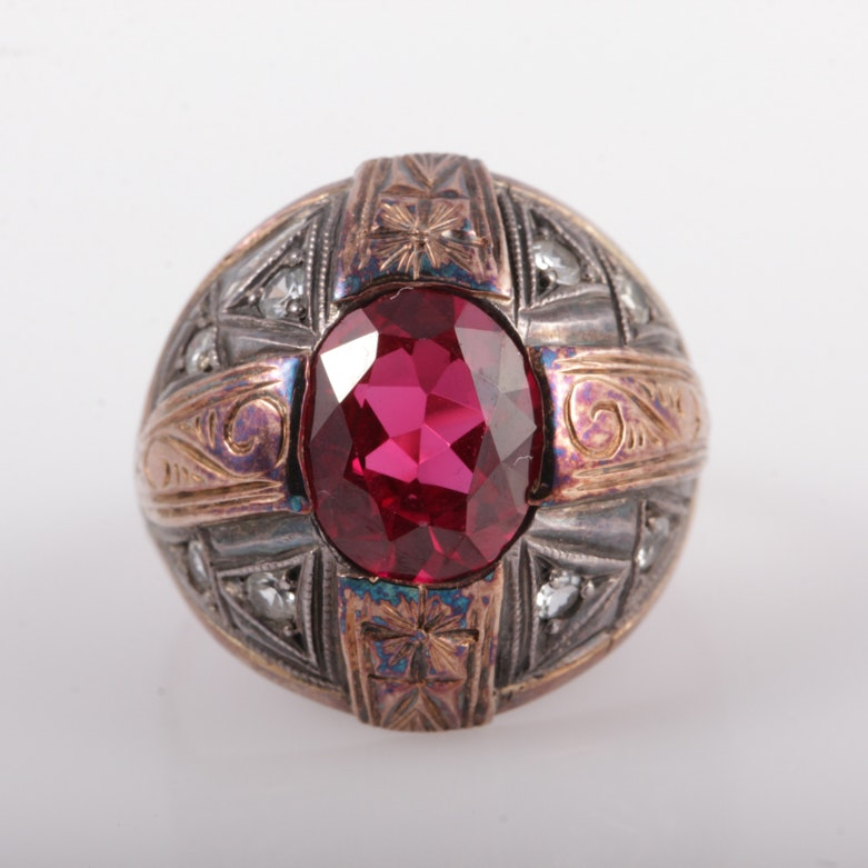 Vintage 18K Rose Gold, Sterling Silver, and Synthetic Ruby Dome Ring