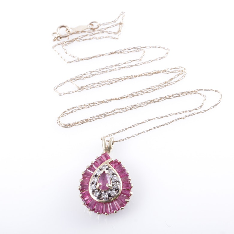 14K Yellow Gold, Ruby, and Diamond Teardrop Pendant Necklace