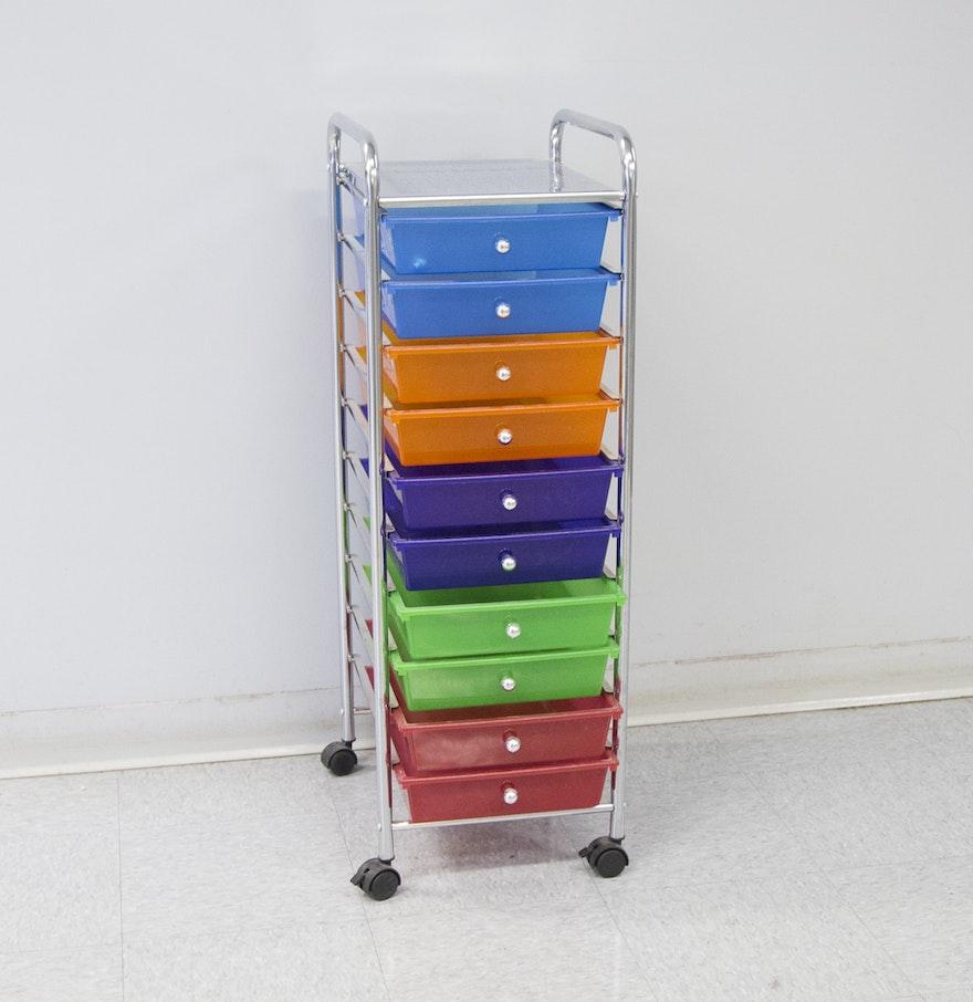 Rolling craft cart with drawers - Ten Drawer Rolling Craft Storage Cart