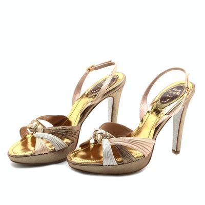 Rene Caovilla Open Toe Shimmery Sling Back Dress Sandals Embellished with Hand Set Swarovski Crystals