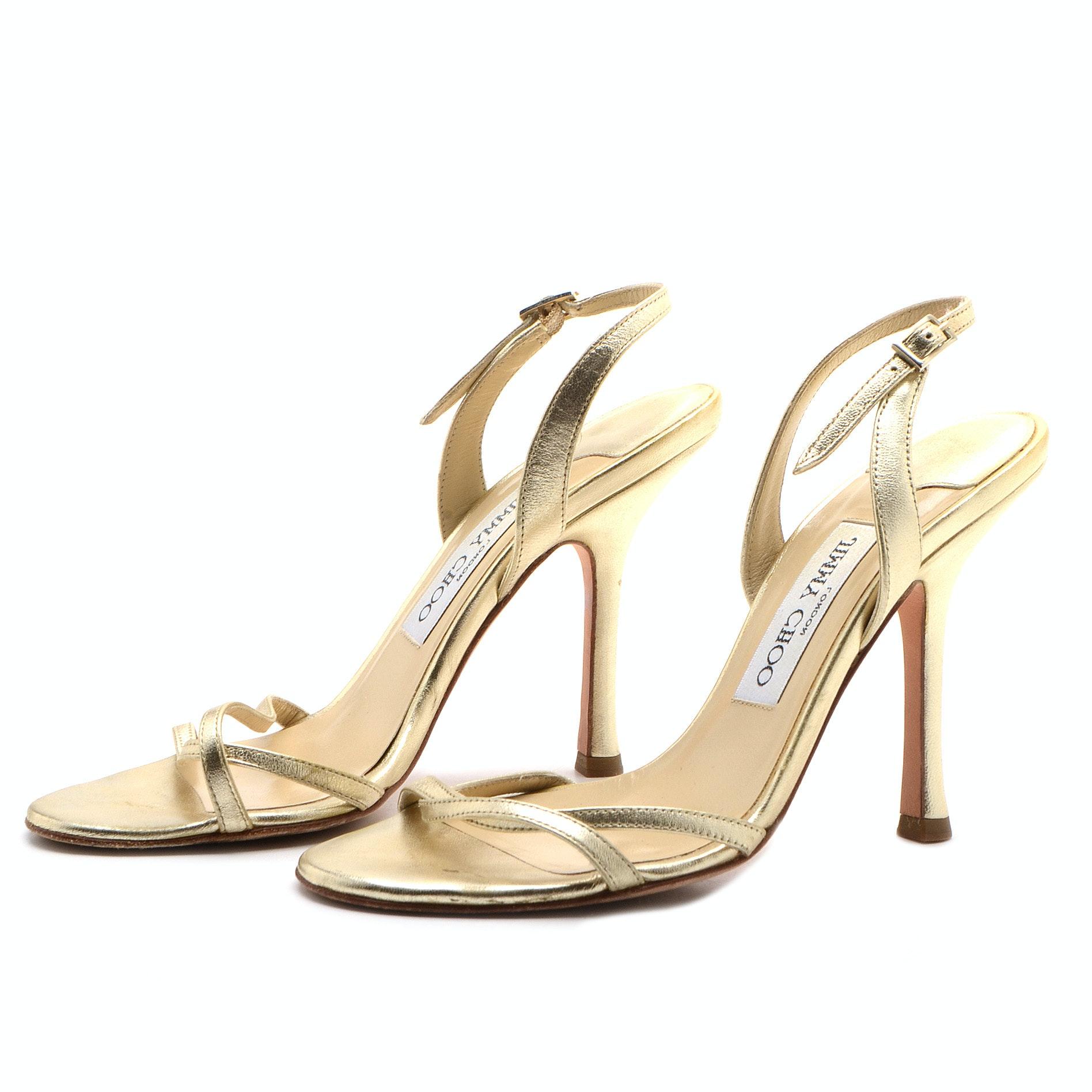 Jimmy Choo of London Gold Metallic Slingback Dress Sandals