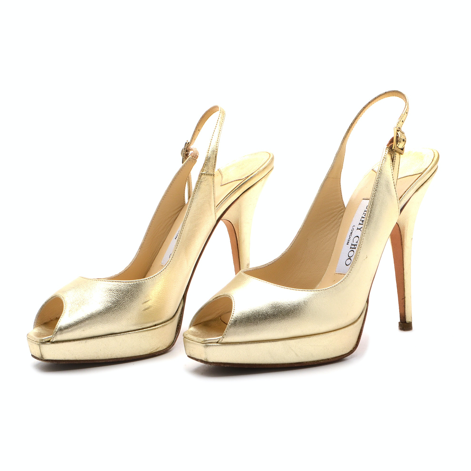 Jimmy Choo of London Gold Metallic Platform Peep Toe Slingbacks