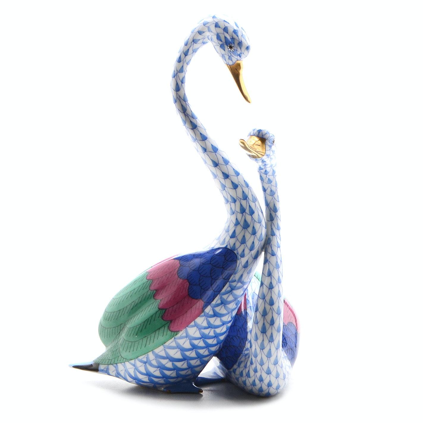 Herend Hungary Porcelain Swan Figurine
