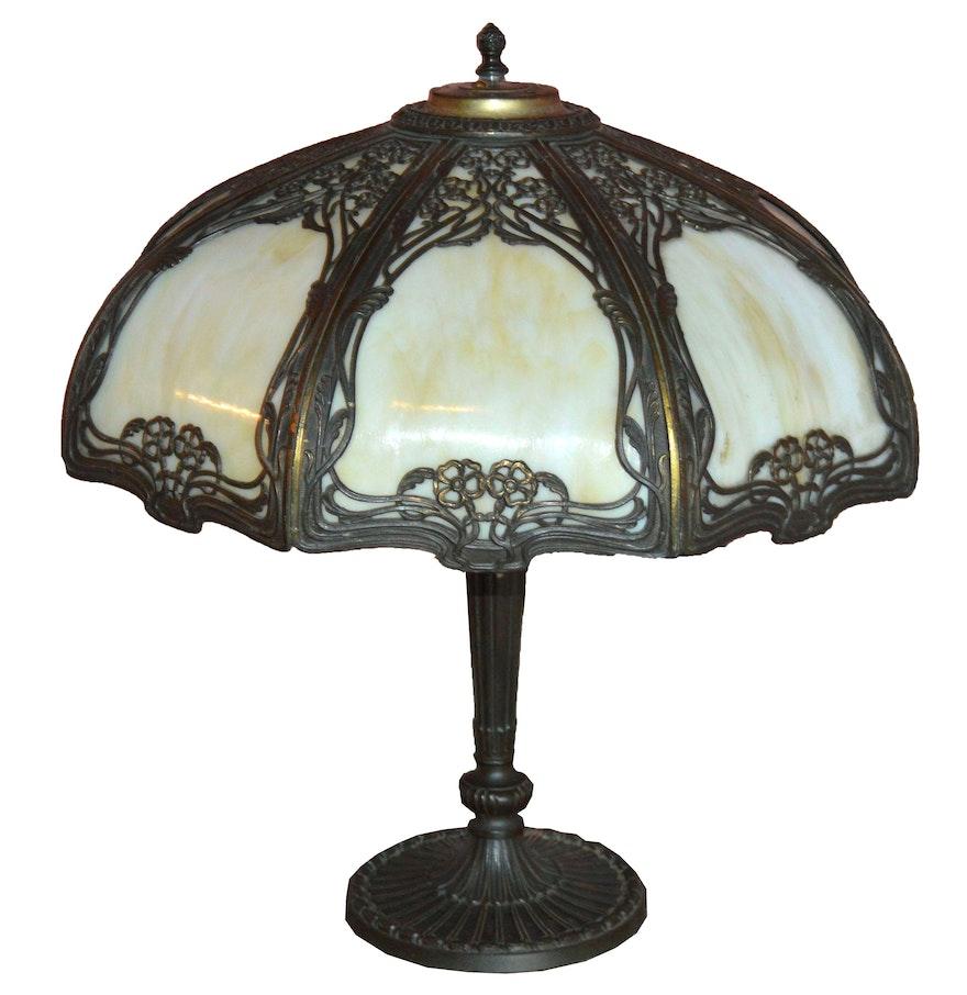 Vintage Bradley & Hubbard Slag Glass Table Lamp : EBTH