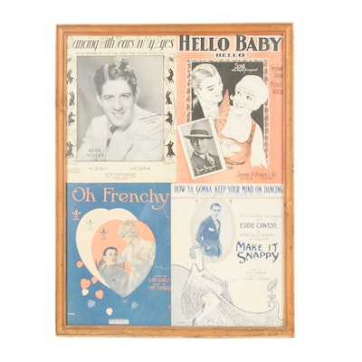 Signed Rudy Vallée and Other Framed Sheet Music