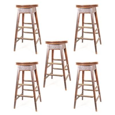Set of Five Oak Bar Stools