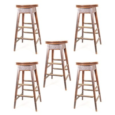 Set of Five Oak Bar Stools