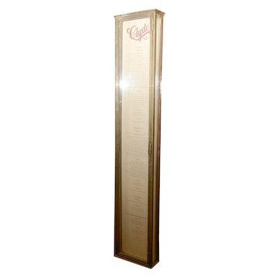 Glass and Brass Wine List Display Case
