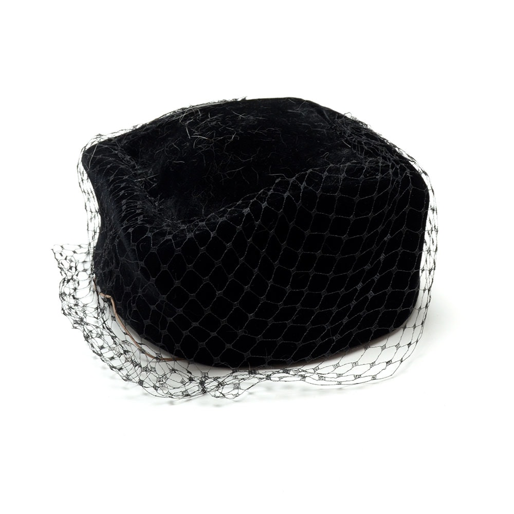"Vintage Jean Barthet of Paris Black Velvet Pill Box Hat with Netting Susan Wore on the ""All My Luggage"" Skit for ""Saturday Night Live"""