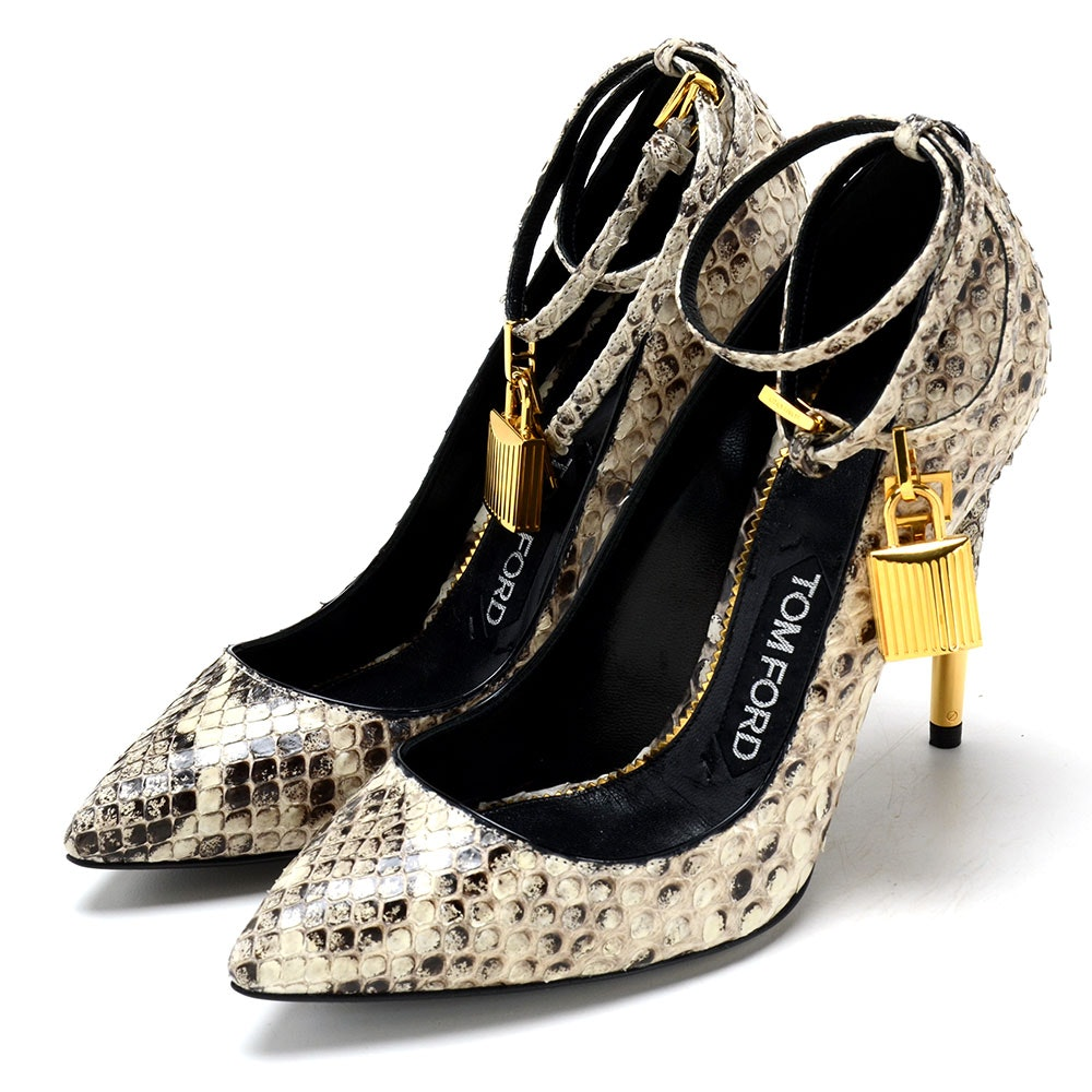Tom Ford Black and White Python Dress Pumps with Ankle Locks