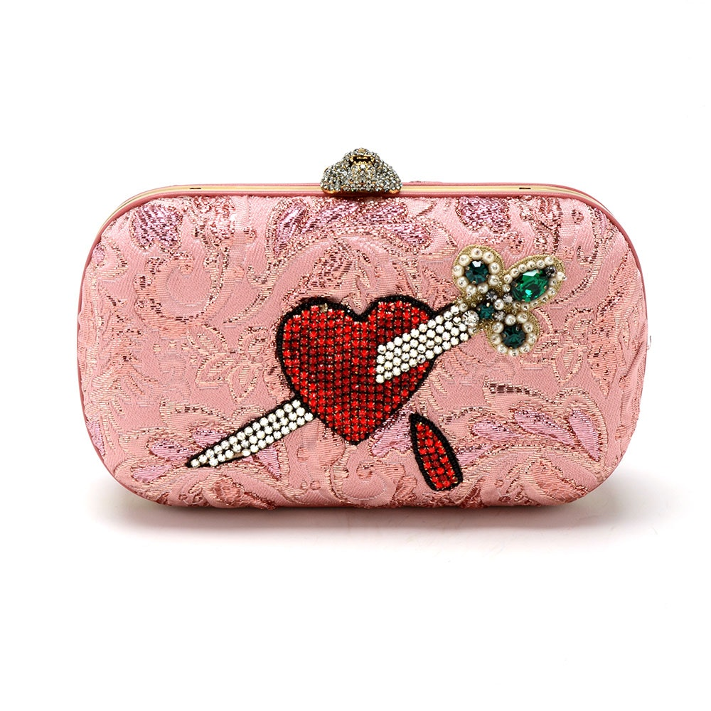 Gucci Broadway Rose Lurex Brocade Embroidered Clutch