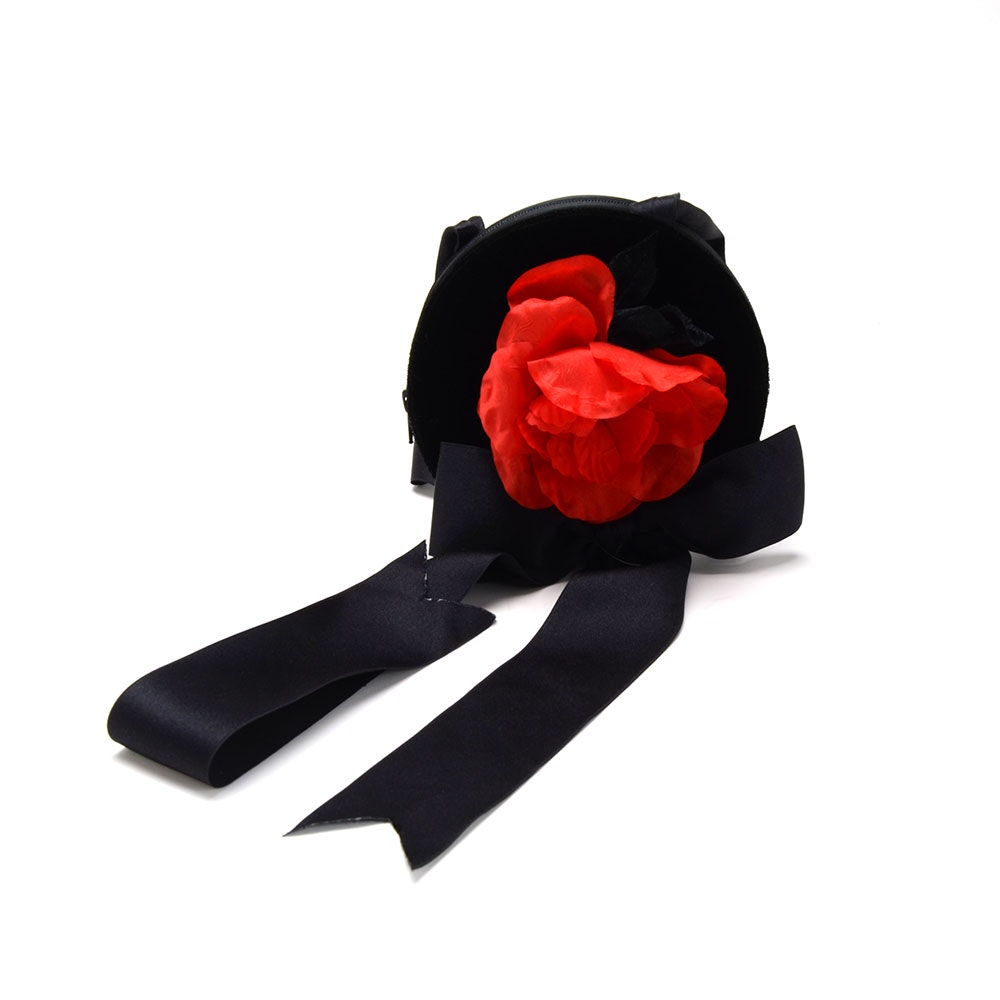 Yves Saint Laurent Rive Gauche Black Velvet Bow and Satin Dress Purse with Dangling Black Heart and Red Fabric Rose