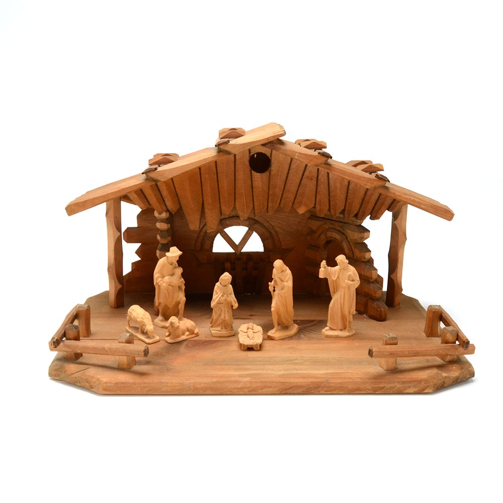German Handcarved Wooden Nativity Scene with Figurines