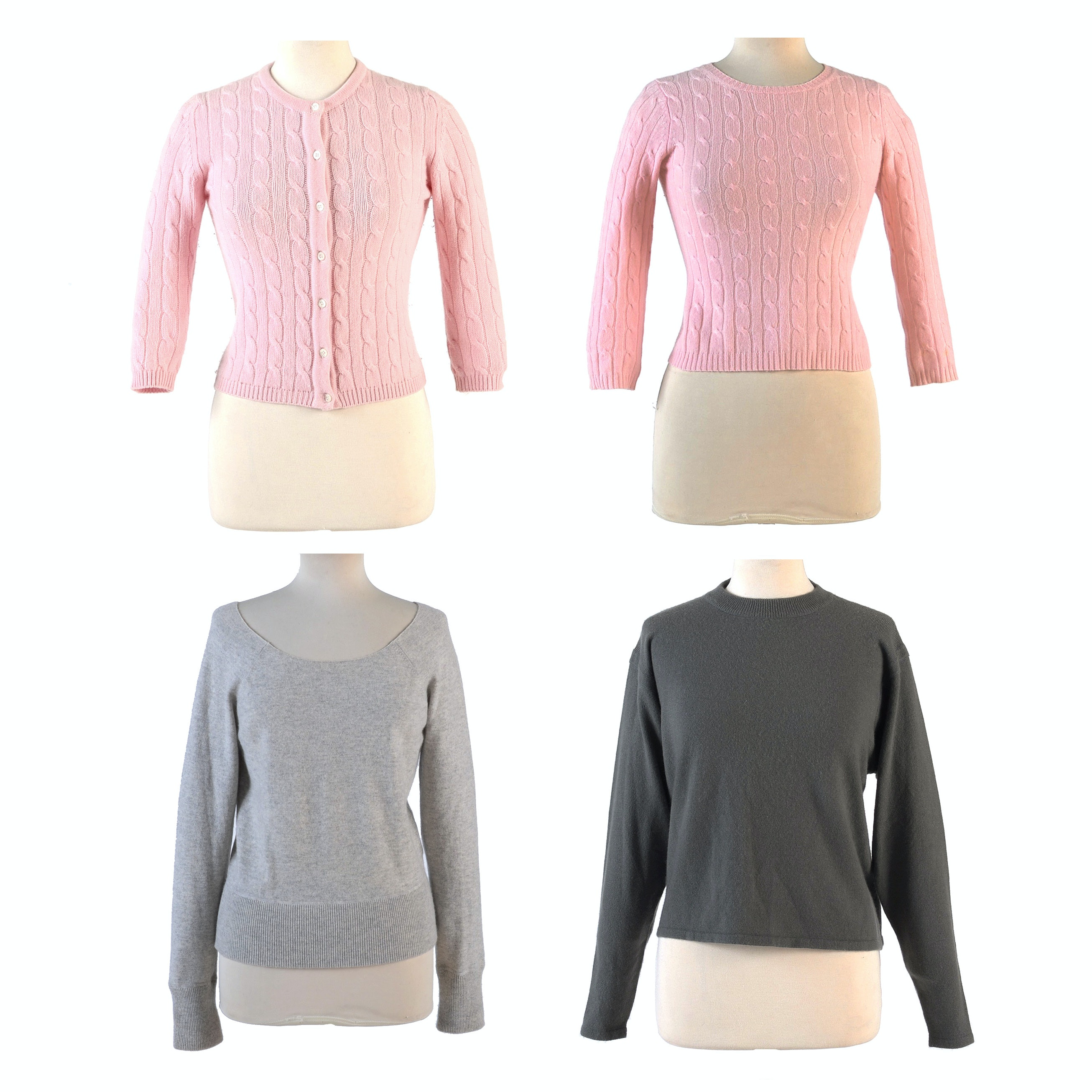 Gray and Pink Cashmere Sweaters