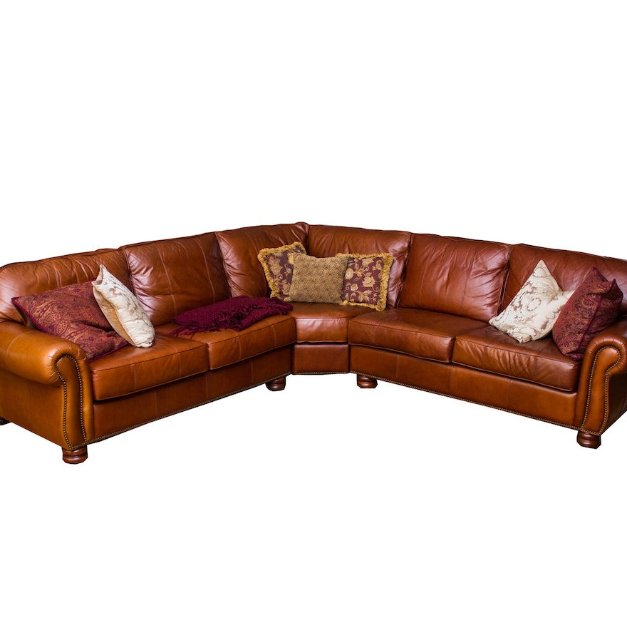 Thomasville Quot Benjamin Quot Brown Leather Sectional Sofa Ebth
