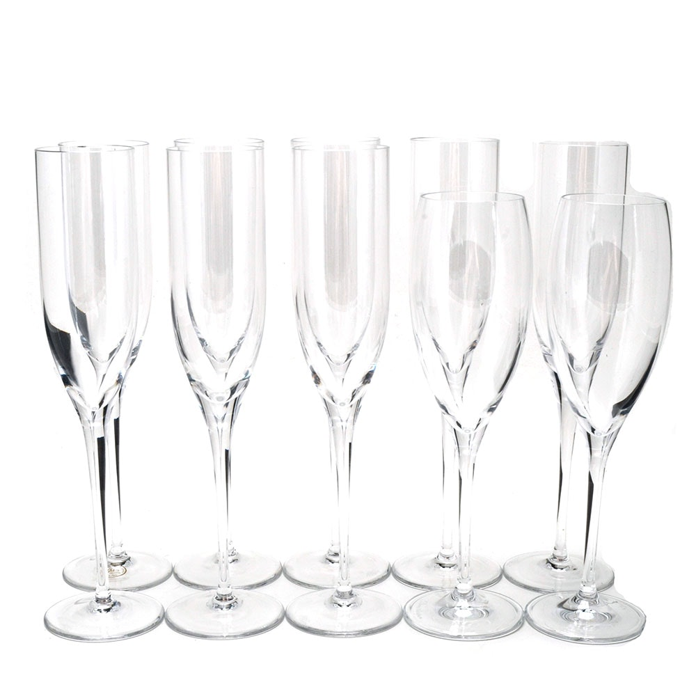 Collection of Crystal Champagne Flutes