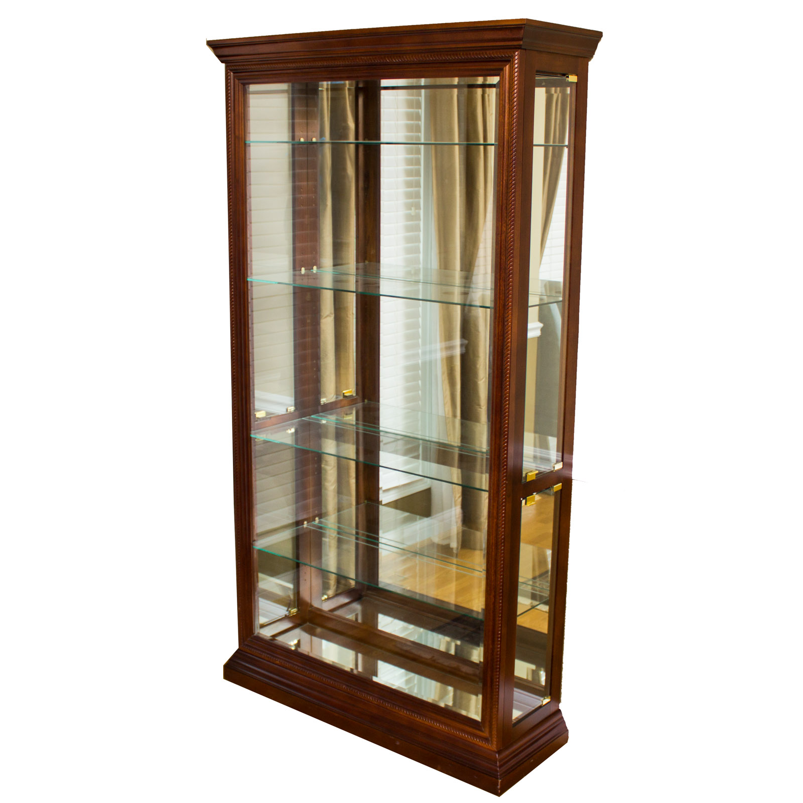 Lighted Walnut Curio Cabinet : EBTH