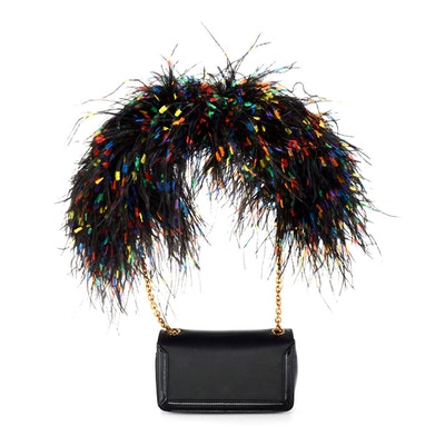 Christain Louboutin of Paris Artemis Black Calf Leather Shoulderbag with Ostrich Feathers, New with Tag