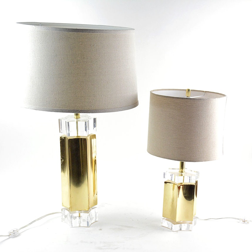 Star Shaped Brass And Acrylic Table Lamps Ebth