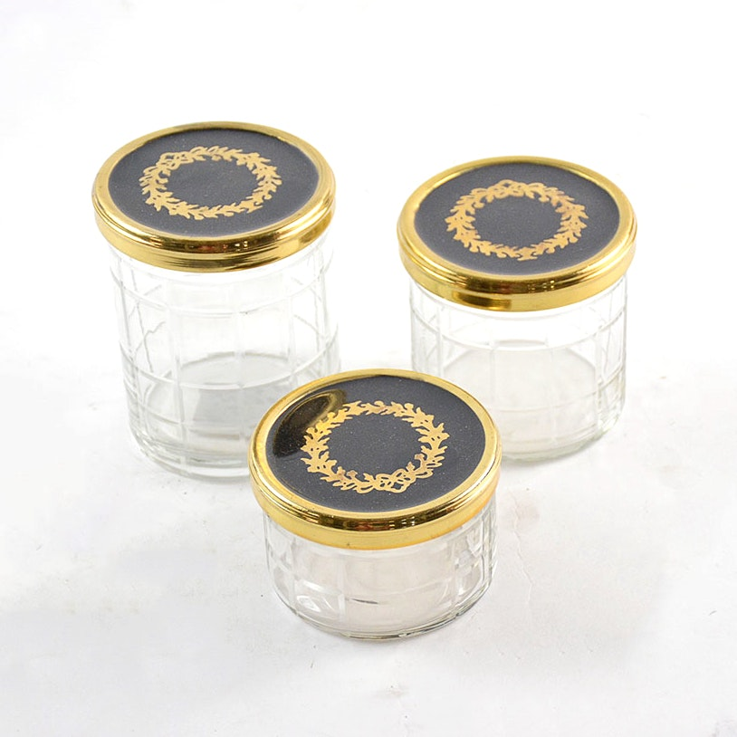 Canisters with Black and Gold Laurel Lids