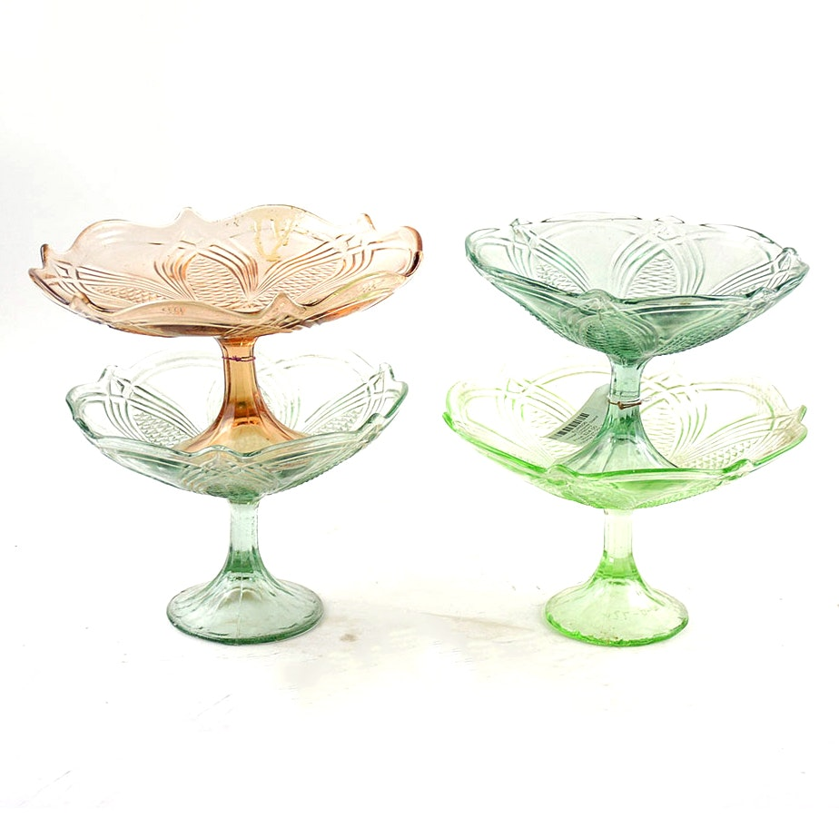 Colored Pressed Glass Compotes