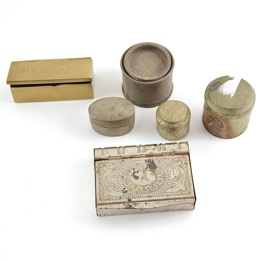 Small Vintage Metal Containers and Trinket Boxes