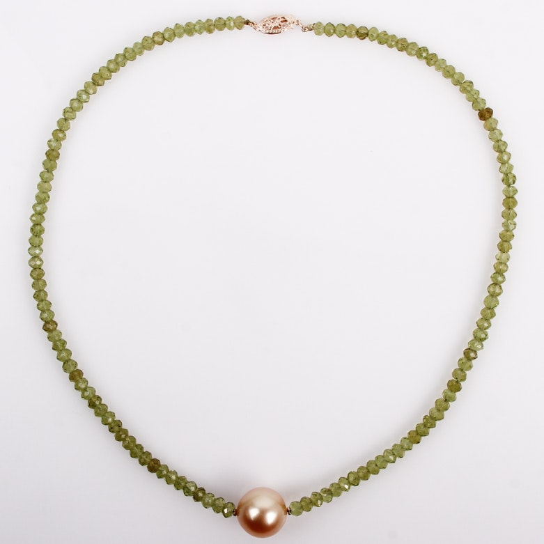 Peridot and Pearl Necklace with 14K Yellow Gold Closure