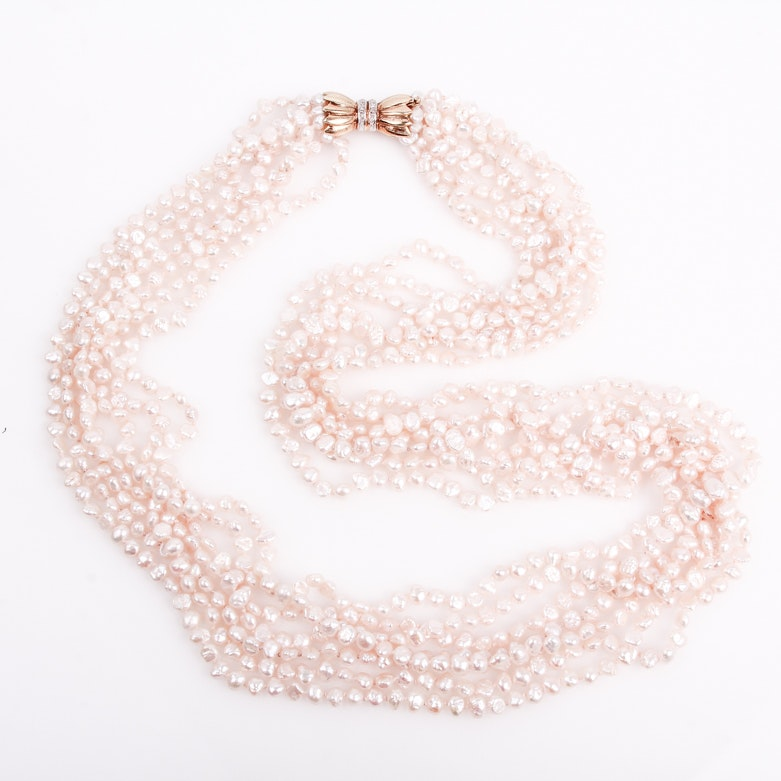 14K Yellow Gold and Freshwater Pearl Torsade Necklace