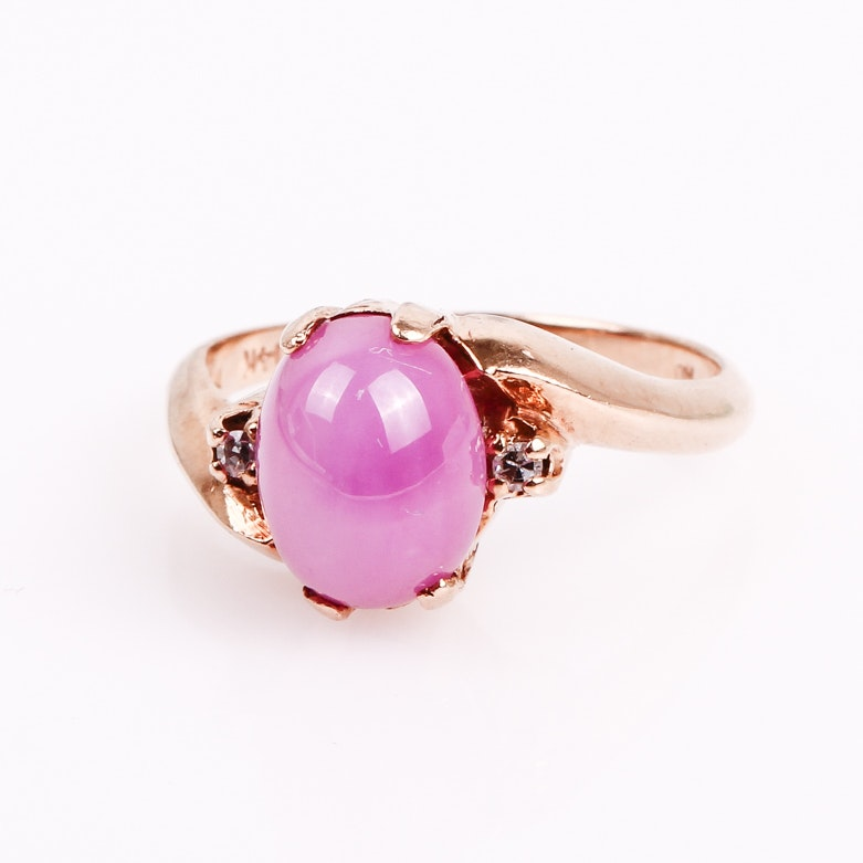 Vintage 14K Yellow Gold, Pink Star Sapphire, and Diamond Ring