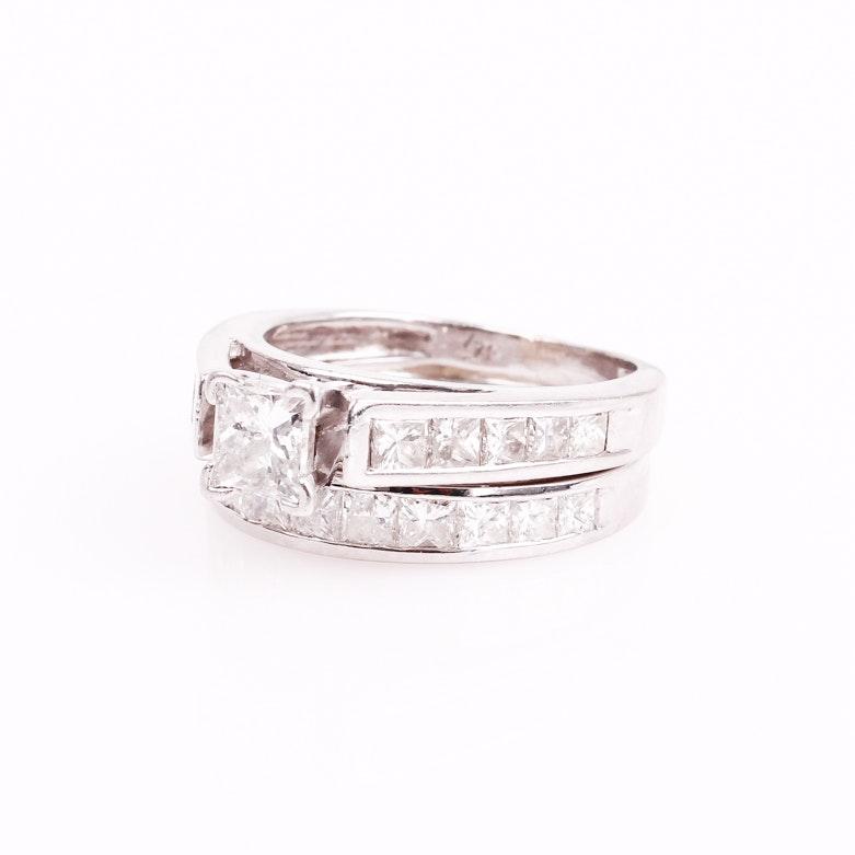 Platinum and 3.00 CTW Invisible Set Diamond Bridal Set